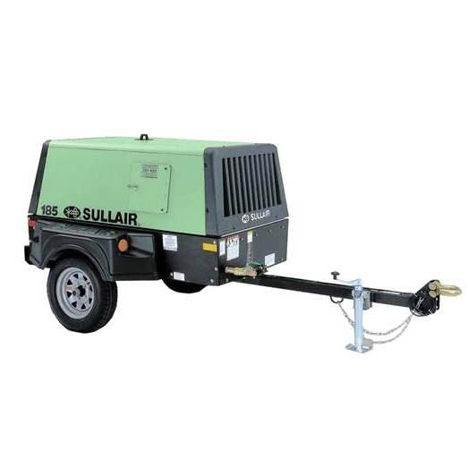 Sullair 185cfm Towable Air Compressor for rent sunflower equipment rental topeka lawrence blue springs kansas missouri