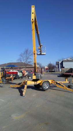 Biljax 4527A Articulating Towable Man Lift trailer lift for sale or rent sunflower equipment rental topeka lawrence blue springs kansas missouri