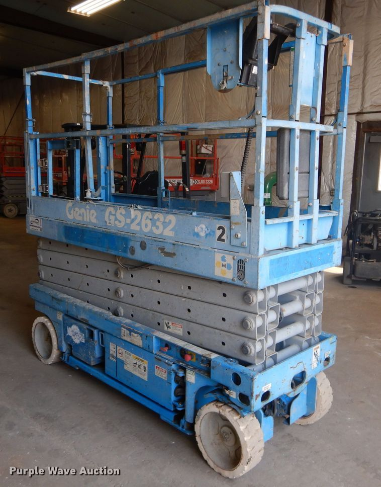 Genie GS-2632 Scissor Lift for sale or rent sunflower equipment rental topeka lawrence kansas blue springs missouri